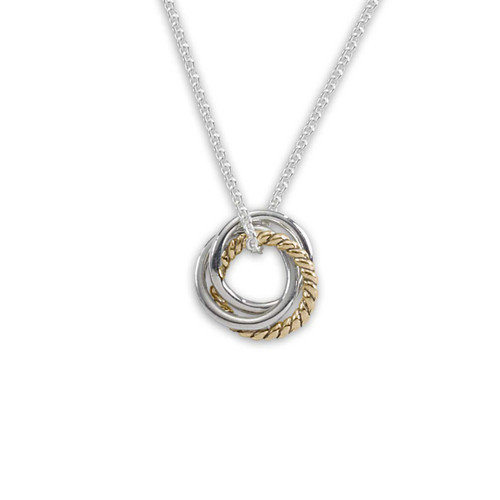 Sterling Silver & 14k Gold Triple Knot Pendant