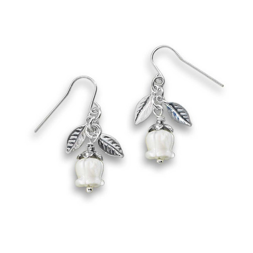 Sterling Silver Lily of the Valley Mother of Pearl Earrings
