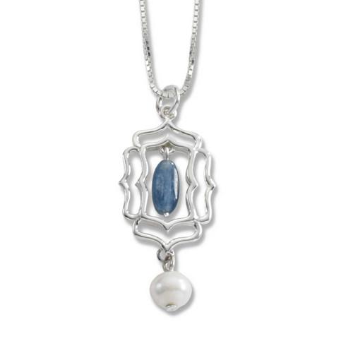 Sterling Silver Kyanite Freshwater Pearl Pendant