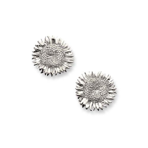 Designer Silver Sunflower Earrings