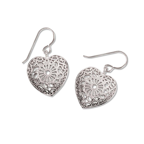 Valentiens Sterling Silver Victorian Lace Heart Earrings