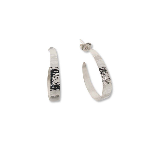 Traditional Sterling Silver Hand Forged Hoop Earrings