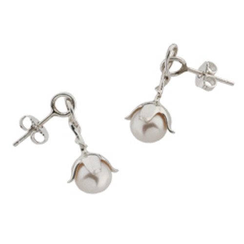 Sterling Silver Freshwater Pearl Blossom Earrings