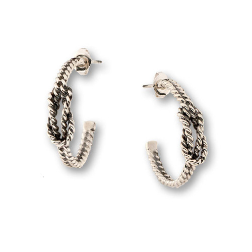Stunning Sterling Silver Square Knot Earrings