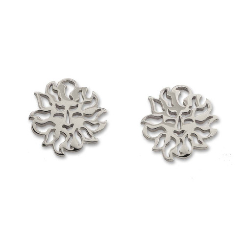 Beautiful Sterling Silver Sun Sign Post Classic Earrings