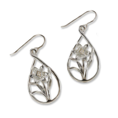 Sterling Silver Daffodil Teardrop Earrings