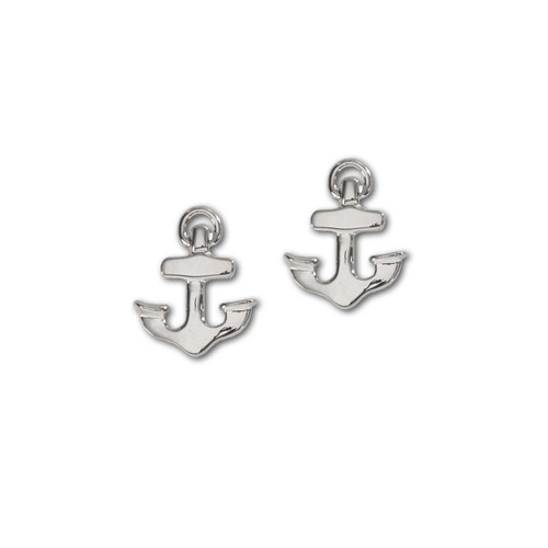 Sterling Silver Petite Anchor Symbolizes Hope Earrings