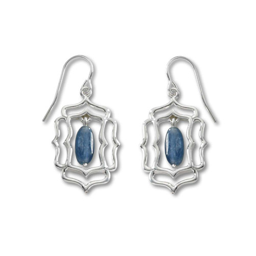 Sterling Silver Mystic Window and Denim Blue Kyanite Earrings