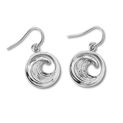 Sterling Silver Small Perfect Beach Lover Wave Earrings