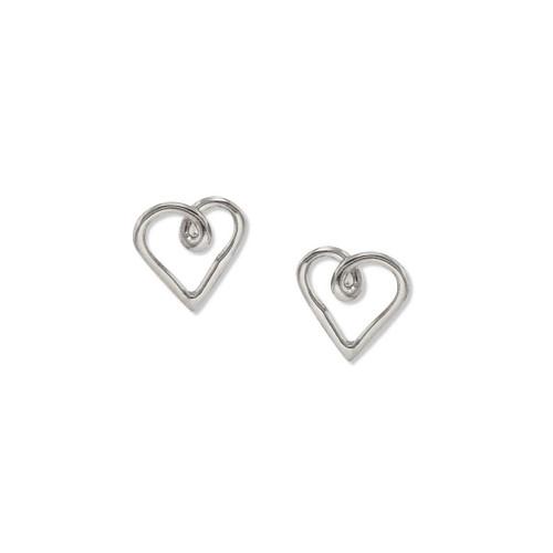 Sterling Silver Romantic Heart Post Earrings