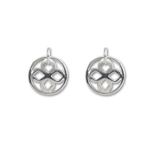 Sterling Silver Persian inticate geometric Lace Round Drop Earrings