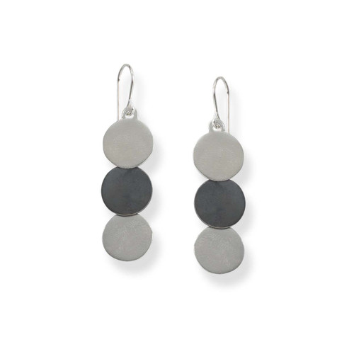Sterling Silver & Black Patina Trio Silver Discs Drop Earrings