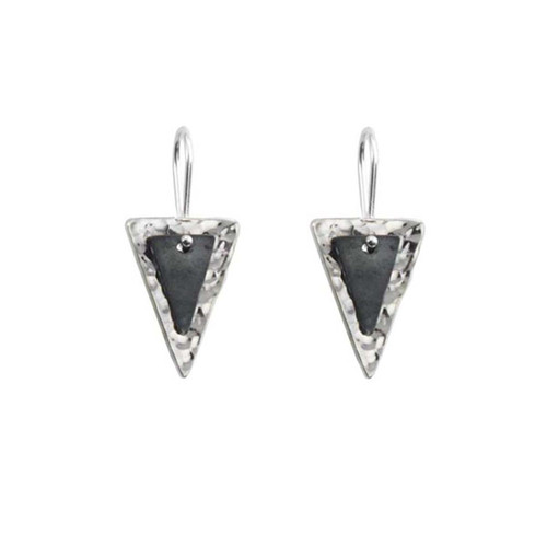 Sterling Silver & Black Patina Double Triangle Hand Hammered Earrings