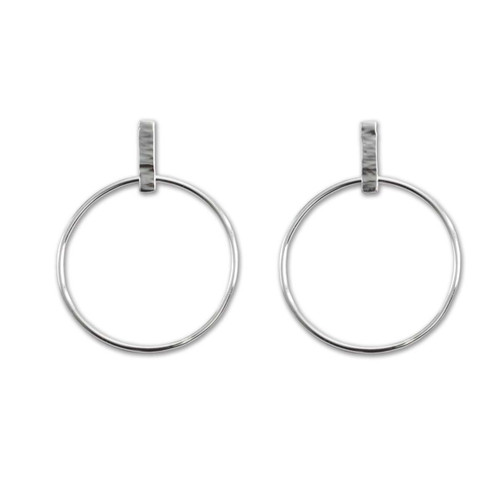 Sterling Silver Hammered Polished Line Hoops