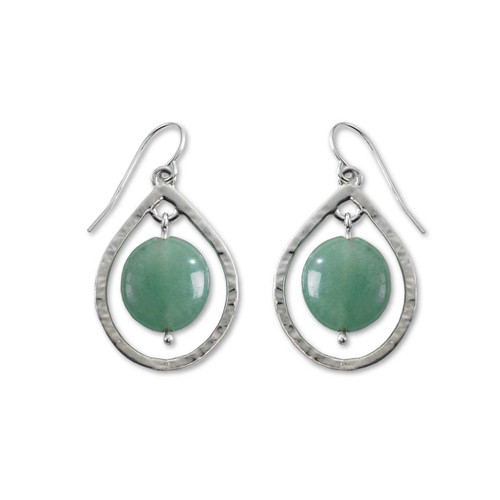 Sterling Silver Floating Design Stones Earrings with Green Aventurine