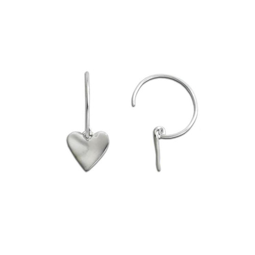 Sterling Silver Wavy Heart Earrings on Circle Wire