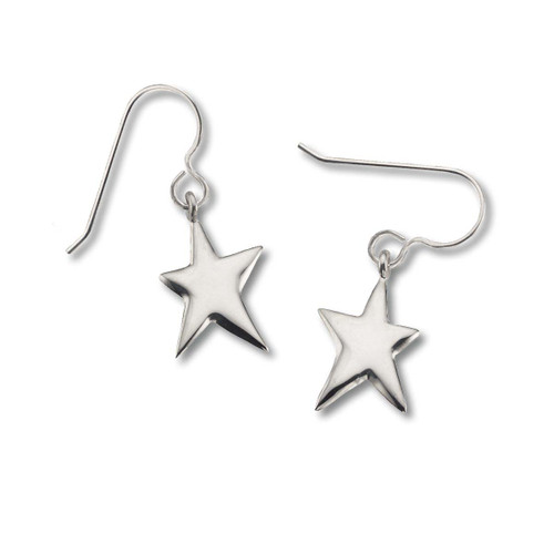 "Sterling Silver Shining Star Earrings 3/4"" Long, Double Sided"