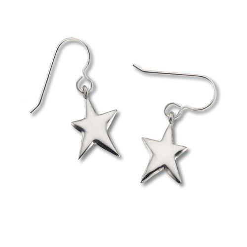 """Sterling Silver Shining Star Earrings 3/4"""" Long, Double Sided"""