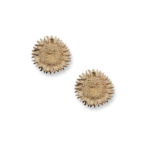 14kt Sunflower Earrings Handcrafted in Newport RI