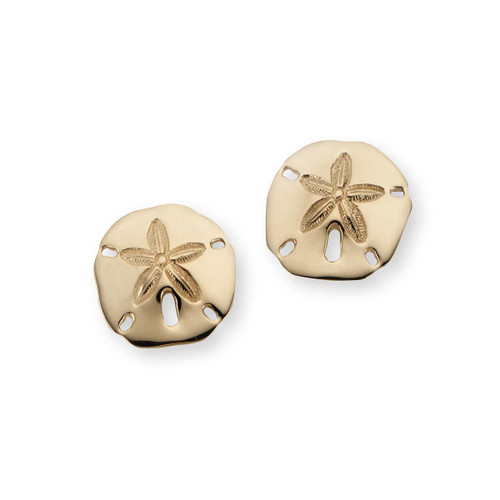 "14kt Sand Dollar Earrings 5/8"" Post earrings"