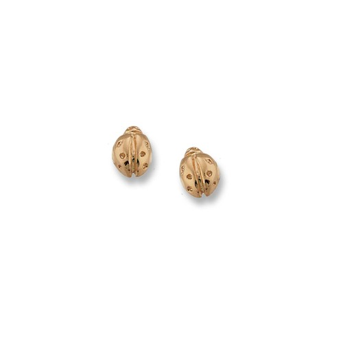 "14kt Ladybug Post Earrings Pair 3/8"" Long"