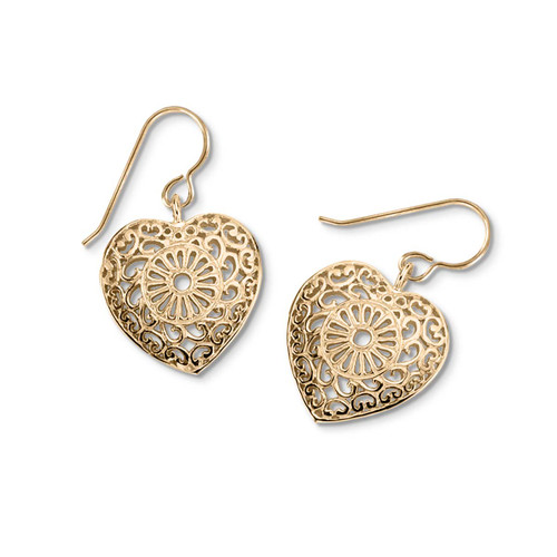 14kt Victorian Lace Heart Earrings Inspired by lace Doilies