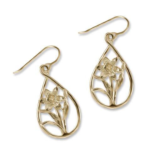 14k Daffodil Teardrop Earrings