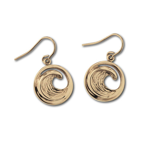 14kt Small Perfect Wave Earrings for Beach Lovers