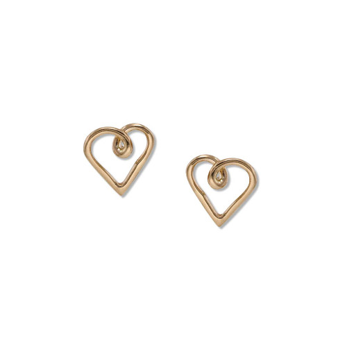 14kt Heart Post Earrings with a Stylish Loop