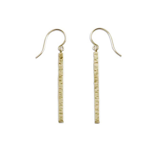 14kt Hammered Bar Earrings in a geometry Shape