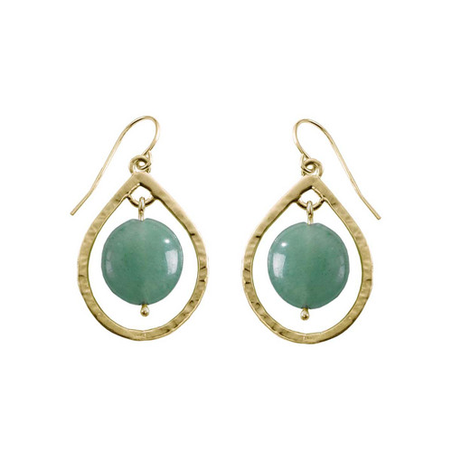 14kt Floating Stone Earrings with Green Aventurine