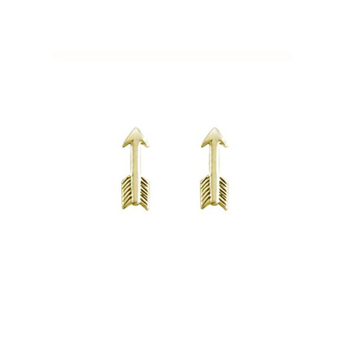 14kt Small Arrow Stud Earrings with Black Ox Finish