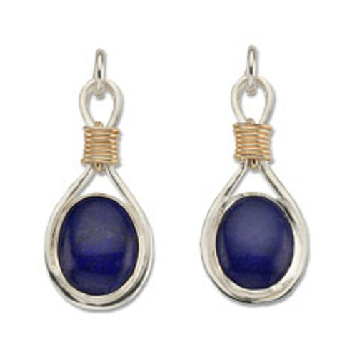Sterling & 14kt Lapis Lazuli Post Earrings with Gold Wire Wrap