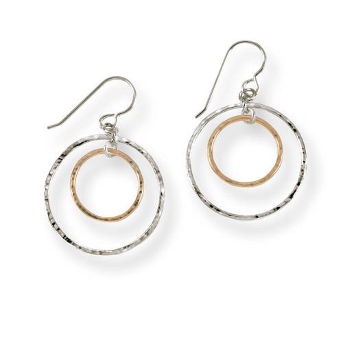 Sterling & 14kt Inner Circle Earrings Captures Light