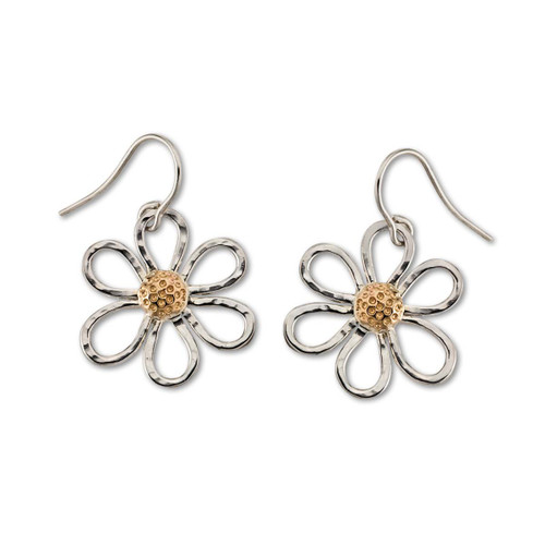Sterling & 14kt Petite Daisy Earrings with six Sterling petals