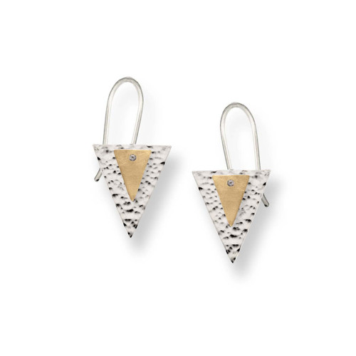 Sterling & 14kt Double Triangle Earrings with brushed Finish