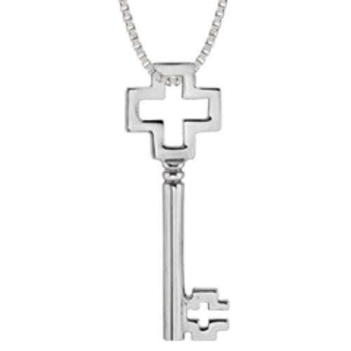 Classic Sterling Silver Cross Key Pendant