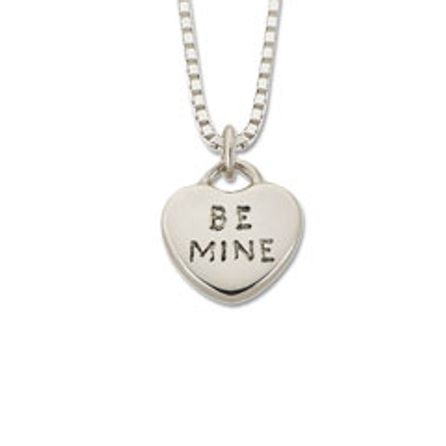 """Sterling Silver """"Be Mine"""" Candy Heart Pendant"""