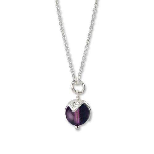 Sterling Silver Purple Amethyst Bud Pendant
