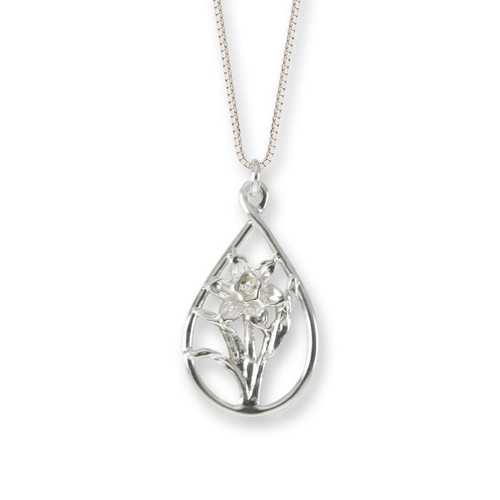 Sterling Silver Graceful Daffodil Teardrop Pendant