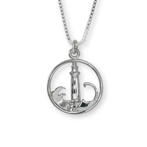 Sterling Silver Lighthouse Safety Symbol Pendant