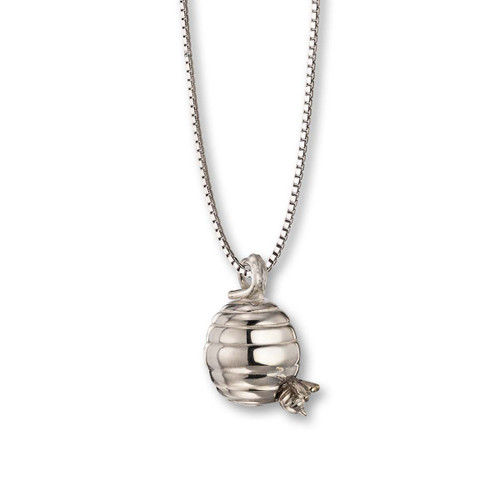 Sterling Silver Small Beehive Pendant with Sterling Silver Bee