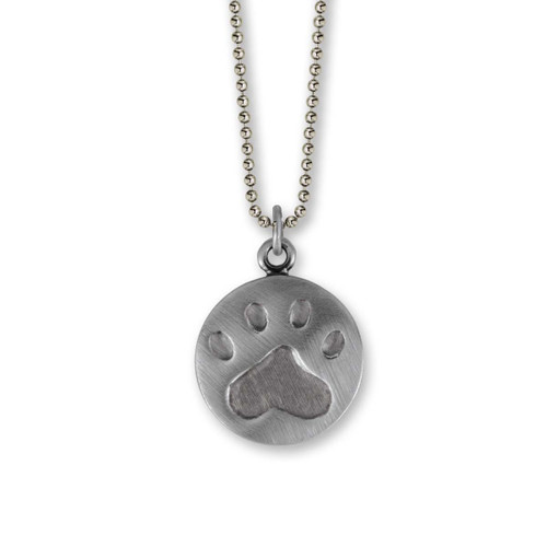 Sterling Silver Large Paw Print Pendant