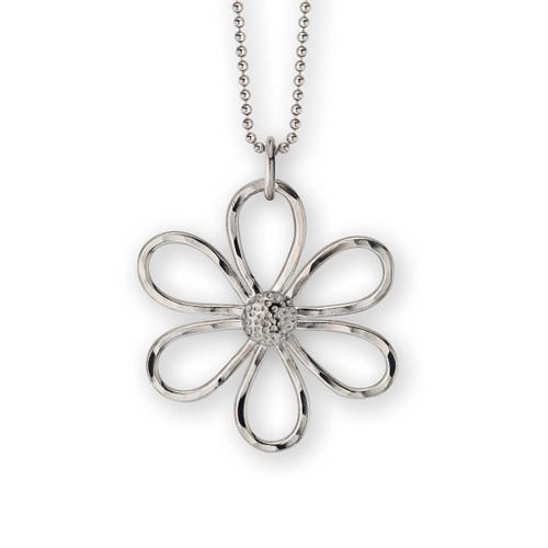 Sterling Silver Dimpled Daisy Flower Pendant
