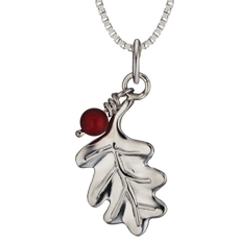 Sterling Silver Oak Leaf & 5mm Carved Carnelian Bead Pendant