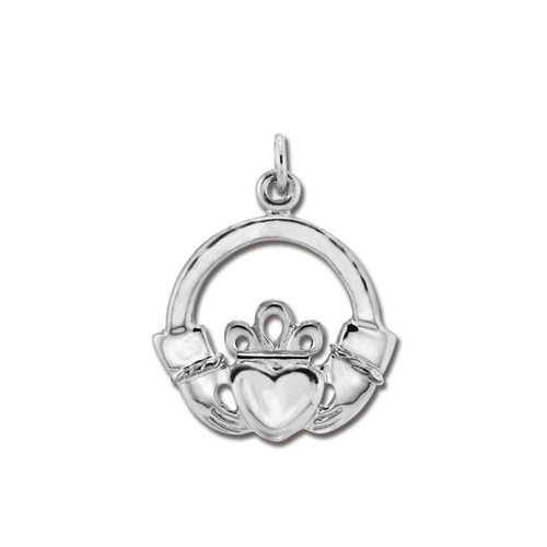 Sterling Silver Claddagh Acient Pendant with Hearts in Two Hands