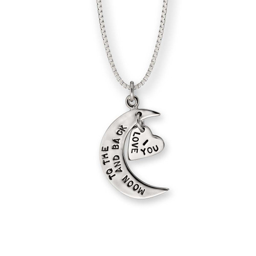 Sterling Silver I Love You to the Moon and Back Pendant