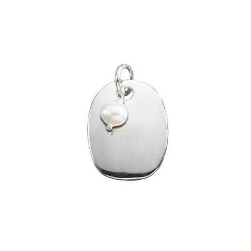 Sterling Silver Oval Plaque with Freshwater Pearl Pendant
