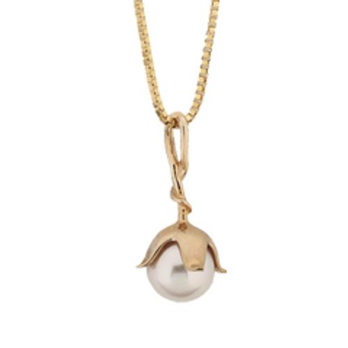 Delicate 8mm 14kt Pearl Blossom Pendant