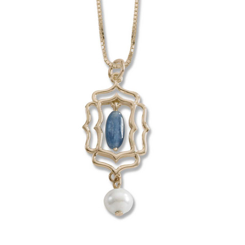 Denim Blue 14kt Mystic Window Kyanite and Freshwater Pearl Pendant